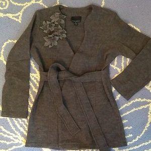 Cynthia Rowley grey wool wrap cardigan